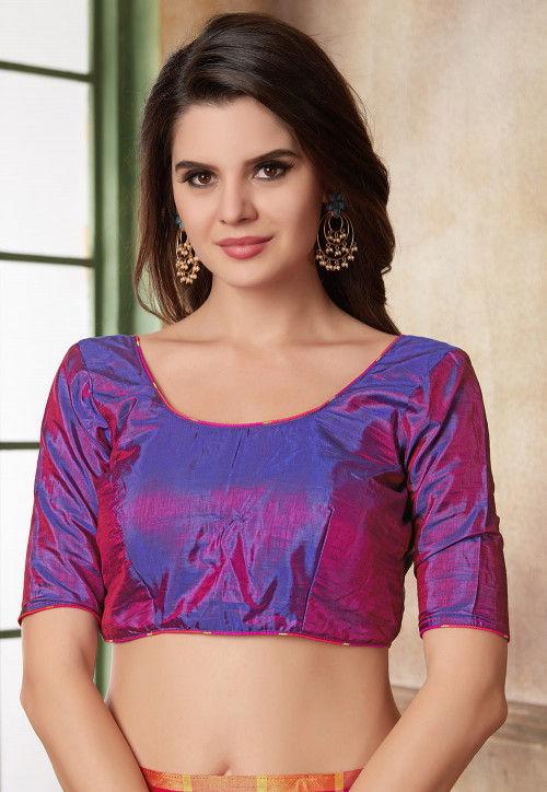 Plain Art Silk Blouse in Purple