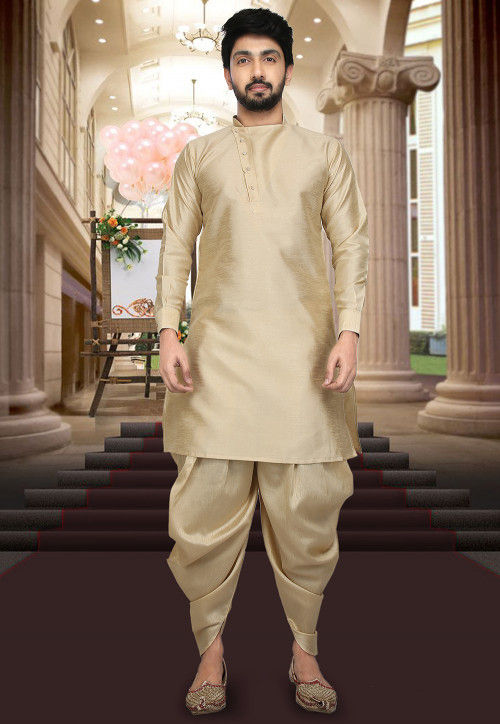 Plain Art Silk Dhoti Kurta in Beige
