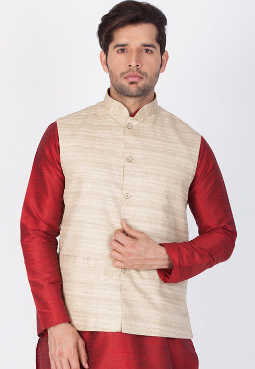 Plain Art Silk Nehru Jacket in Beige