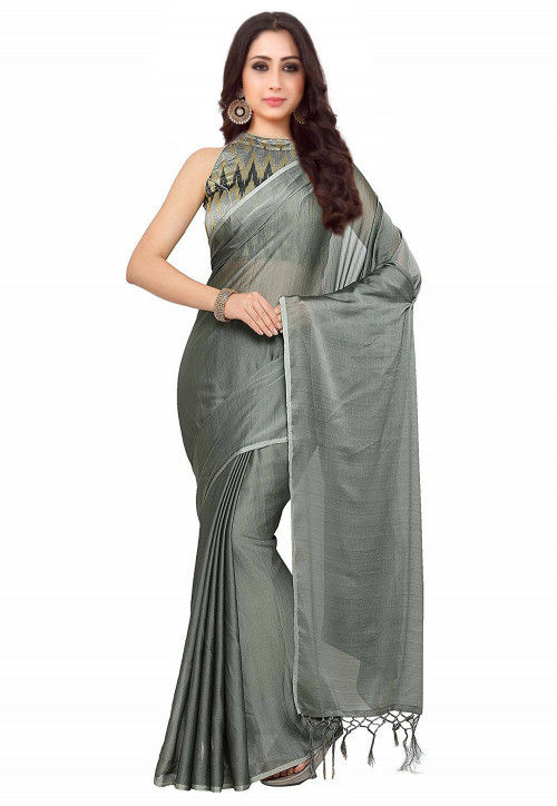 Plain Art Silk Saree in Grey