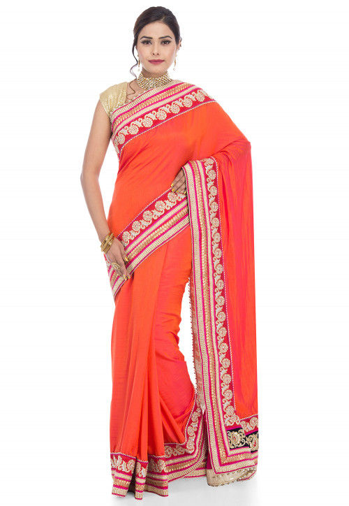 Plain Art Silk Saree in Orange and Fuchsia Dual Tone
