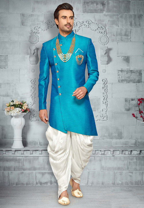 Plain Art Silk Asymmetric Sherwani in Turquoise