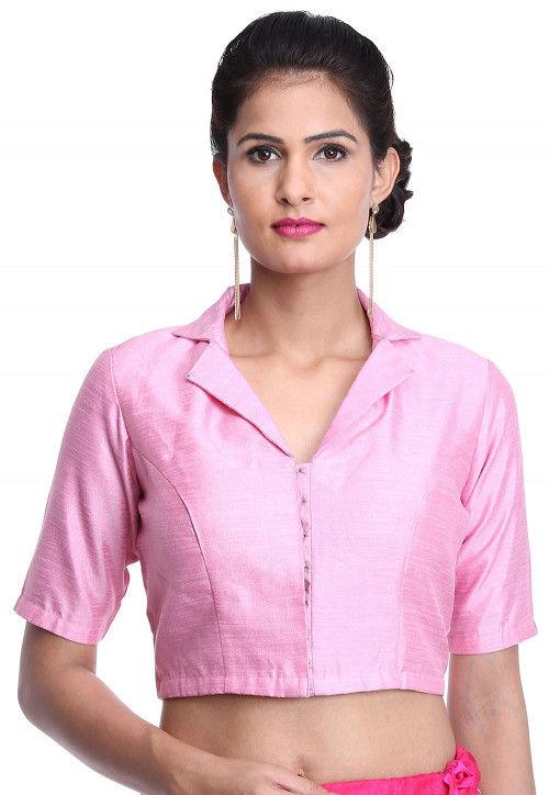 Plain Bhagalpuri Silk Blouse in Baby Pink