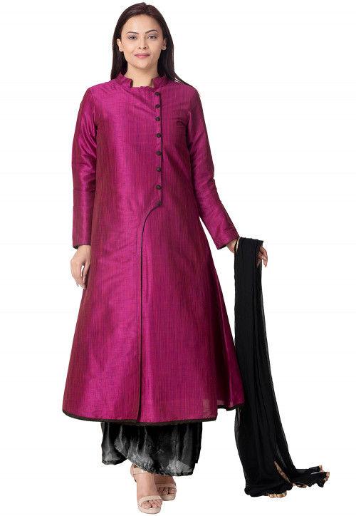 Plain Bhagalpuri Silk Pakistani Suit in Magenta
