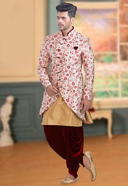 Plain Brocade Jodhpuri Suit in Off White