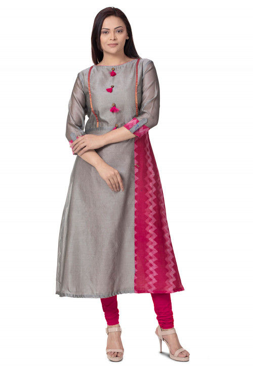 Plain Chanderi Cotton A line Kurta in Grey