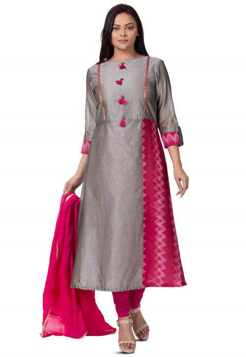 Plain Chanderi Cotton Straight Suit Kurta in Grey