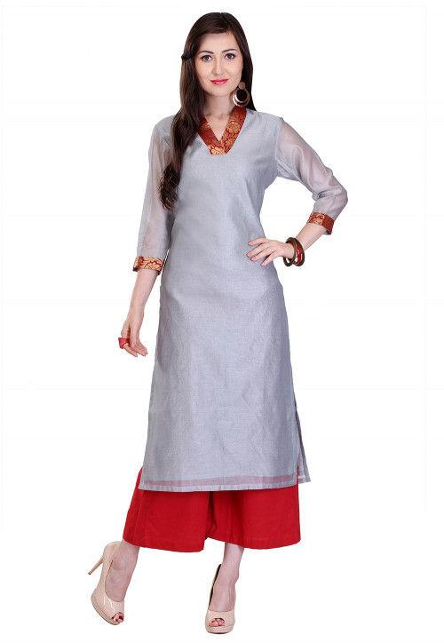 Plain Chanderi Silk Long Kurta in Grey