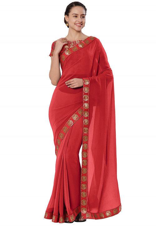 Plain  Chiffon Saree in Red