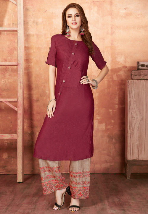 Plain Cotton A Line Kurta Set in Magenta