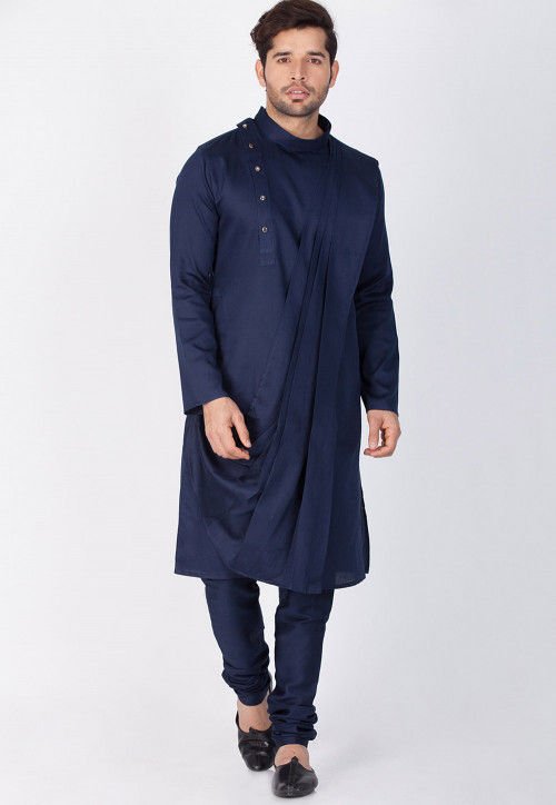 Plain Cotton Cowl Style Kurta Set in Navy Blue