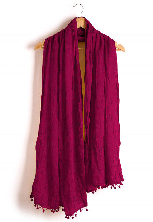 Plain Cotton Dupatta in Fuchsia