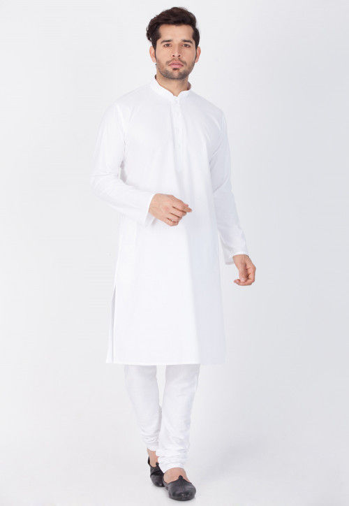Plain Cotton Kurta in White