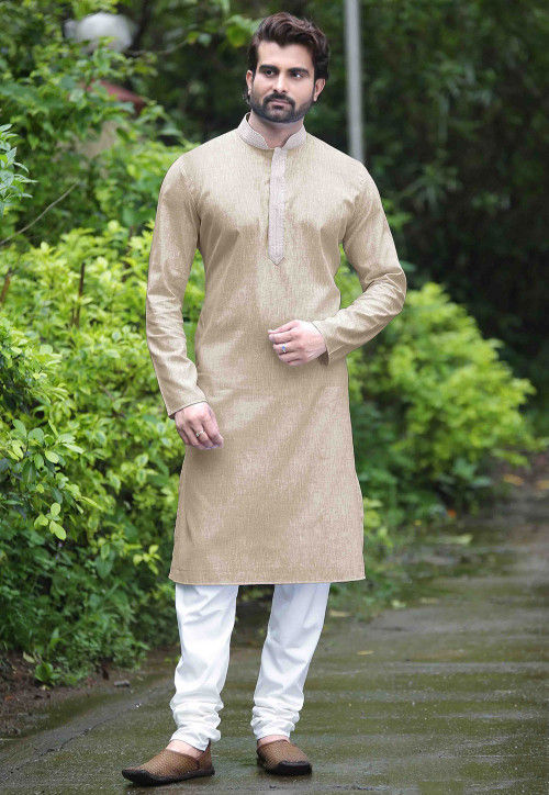 Plain Cotton Kurta Set in Beige