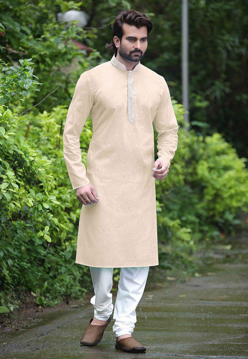 Plain Cotton Kurta Set in Light Beige