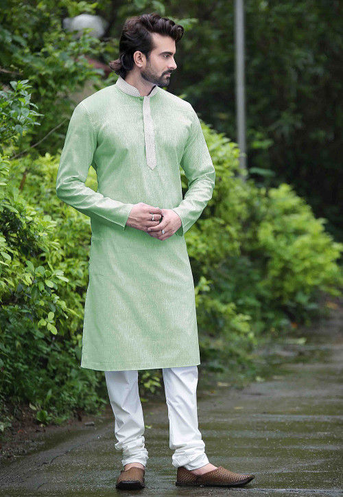 Plain Cotton Kurta Set in Pastel Green