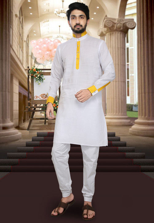 Plain Cotton Lenin Kurta Set in White