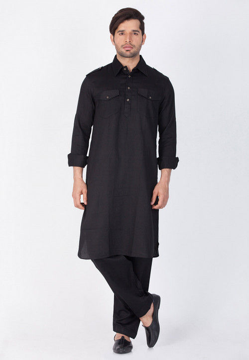 Plain Cotton Pathani Suit in Black