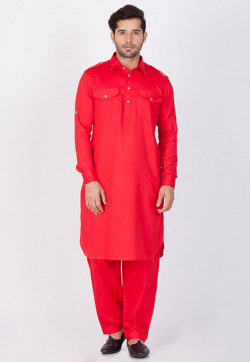 Plain Cotton Pathani Suit in Coral Red