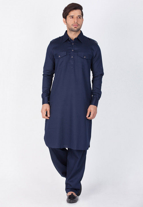 Plain Cotton Pathani Suit in Navy Blue