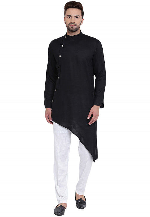 Plain Cotton Rayon Kurta in Black