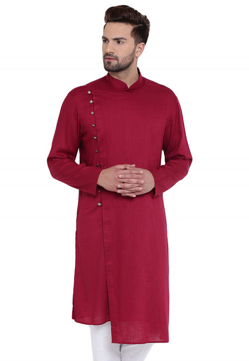 Plain Cotton Rayon Kurta in Magenta