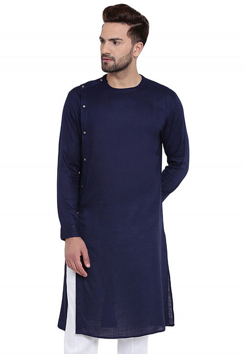 Plain Cotton Rayon Kurta in Navy Blue