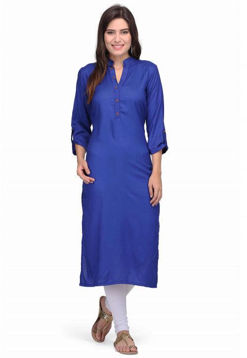 Plain Cotton Rayon Kurta in Royal Blue