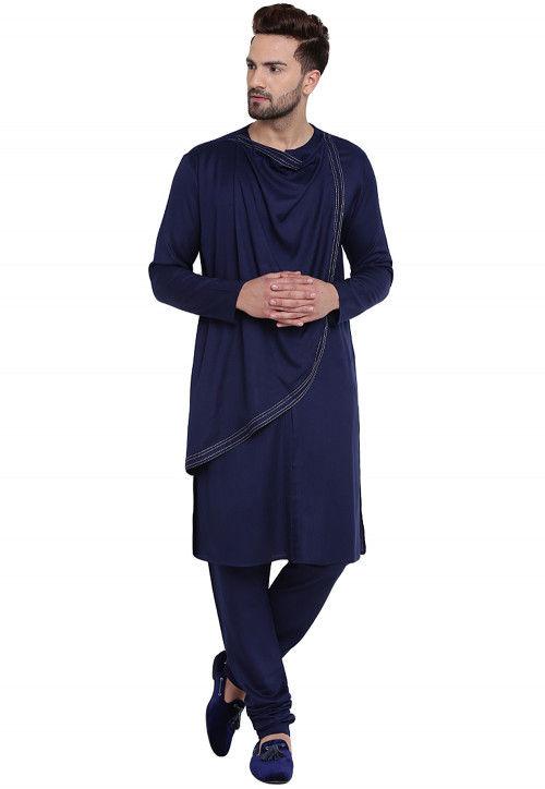 Plain Cotton Rayon Kurta Set in Navy Blue