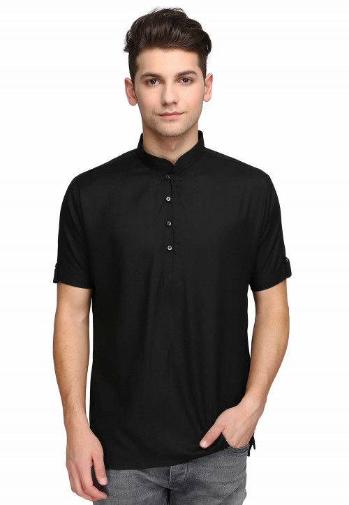 Plain Cotton Short Kurta in Black
