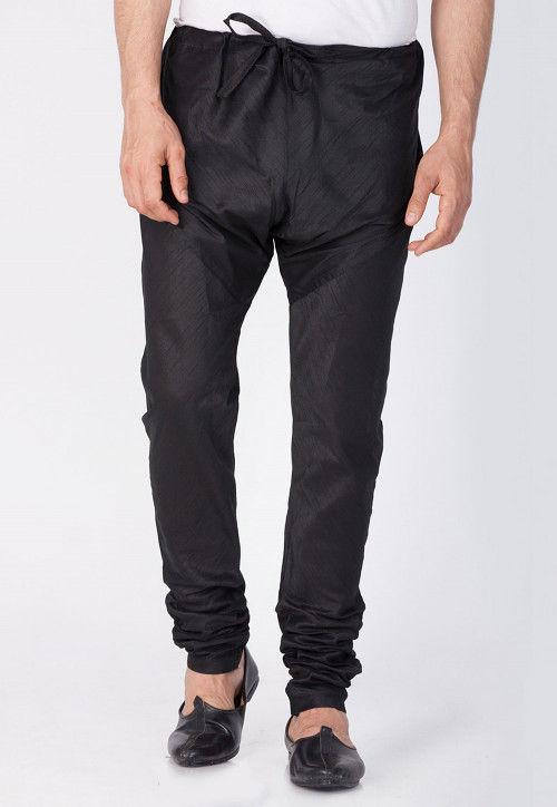 Plain Cotton Silk Churidar in Black