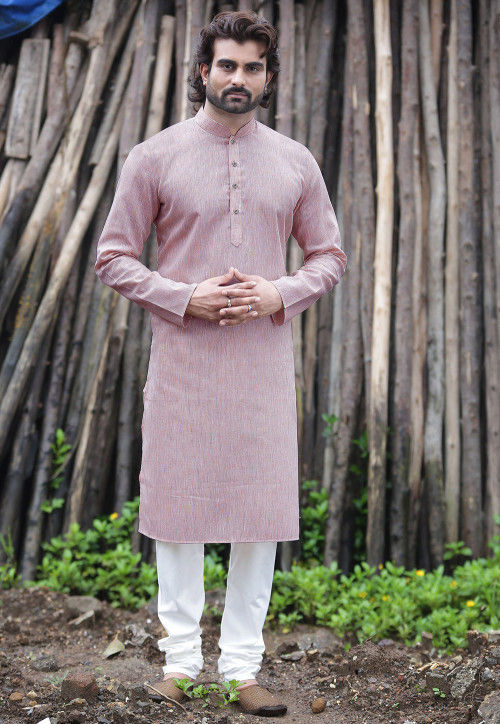 Plain Cotton Silk Kurta Set in Lilac