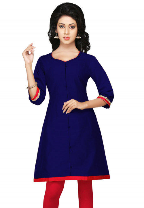 Sweetheart Neck Kurta Blue Women Dress Solid Straight Silk Kurta Dupion Silk