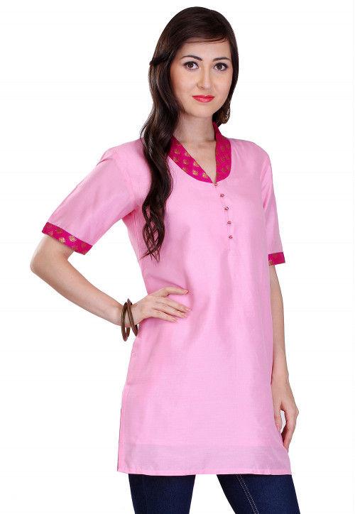 Plain Cotton Silk Kurti in Pink