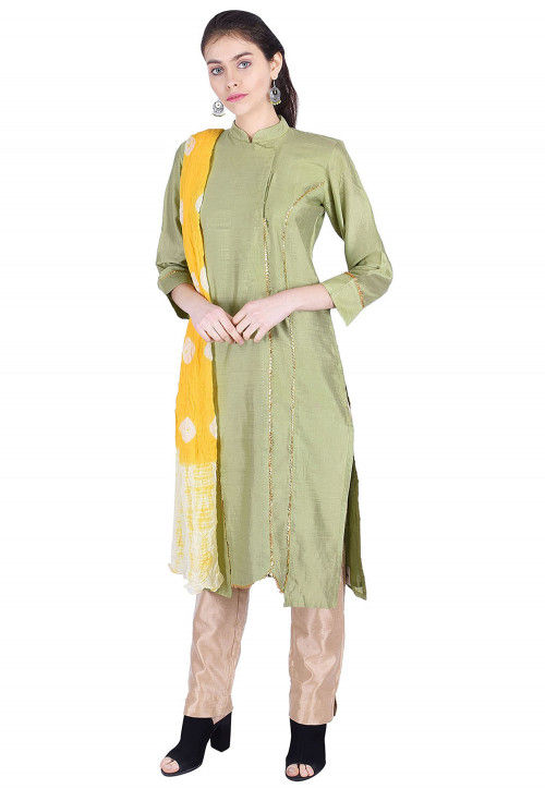 Plain Cotton Silk Straight Suit in Light Olive Green