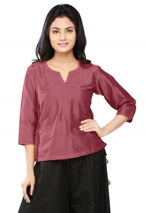 Plain Cotton Silk Top in Old Rose