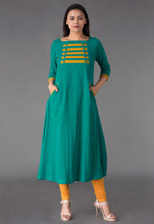 Plain Cotton Slub A Line Kurta in Sea Green