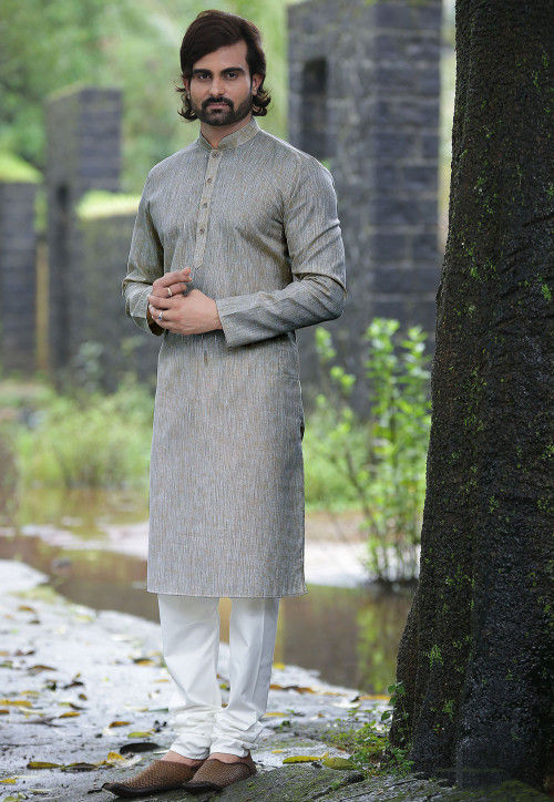 Plain Cotton Slub Kurta Set in Grey
