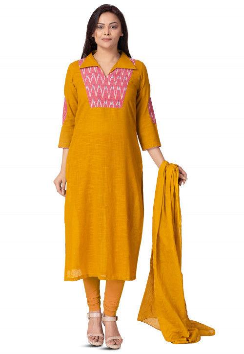 Plain Cotton Slub Straight Suit in Mustard