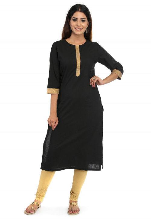 Plain Cotton Straight Kurta in Black