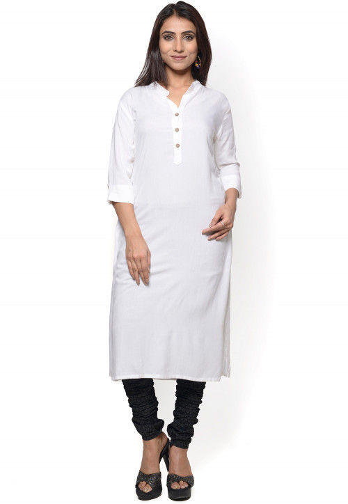 Plain Cotton Straight Kurta in White