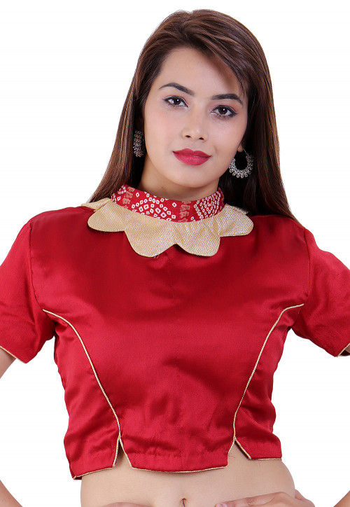Plain Crepe Padded Blouse in Maroon
