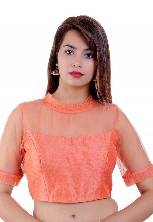 Plain Dupion Silk and Net Padded Blouse in Peach
