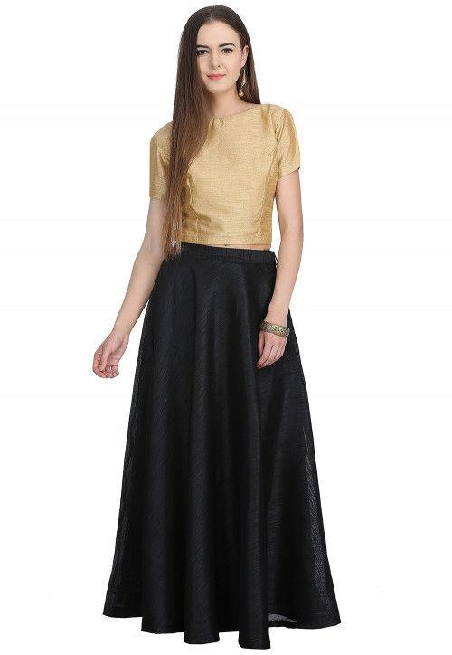 976c96317c01 Plain Dupion Silk Crop Top Set in Beige and Black : TUT17