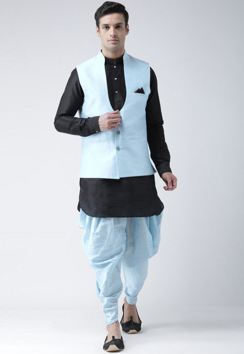 Plain Dupion Silk Dhoti Kurta in Black
