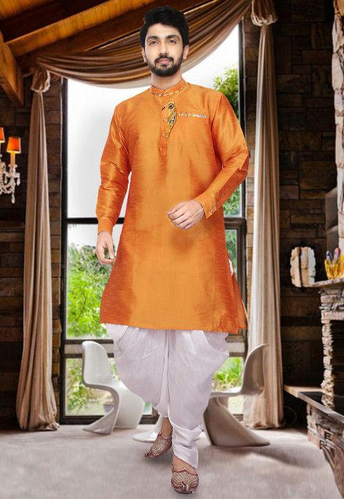 Plain Dupion Silk Dhoti Kurta in Orange