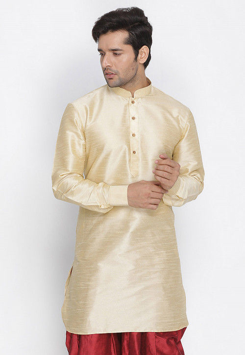 Plain Dupion Silk Kurta in Cream
