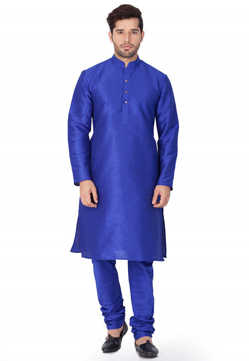 Plain Dupion Silk Kurta in Royal Blue