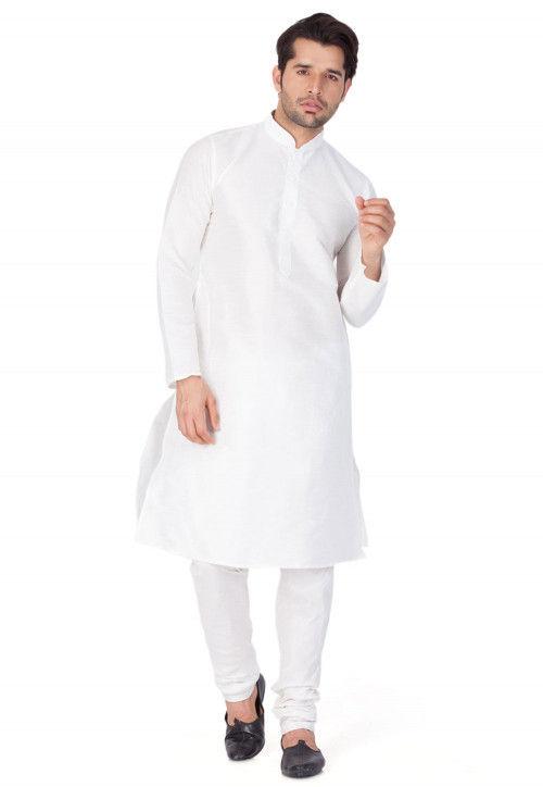 Plain Dupion Silk Kurta in White
