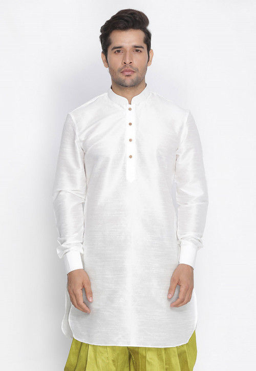 Plain Dupion Silk Kurta in White